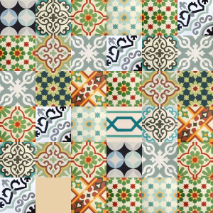 Patchwork cement tiles - shades of green
