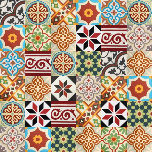 Patchwork cement tiles - shades of red