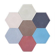 Patchwork - hexagonal cement one-color tiles