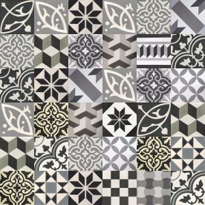 Patchwork cement tiles - shades of gray