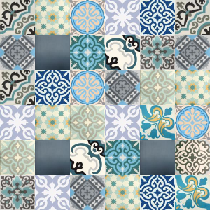 Patchwork cement tiles - shades of blue