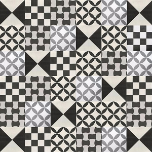 Patchwork cement tiles - balck and white - Quick delivery tiles